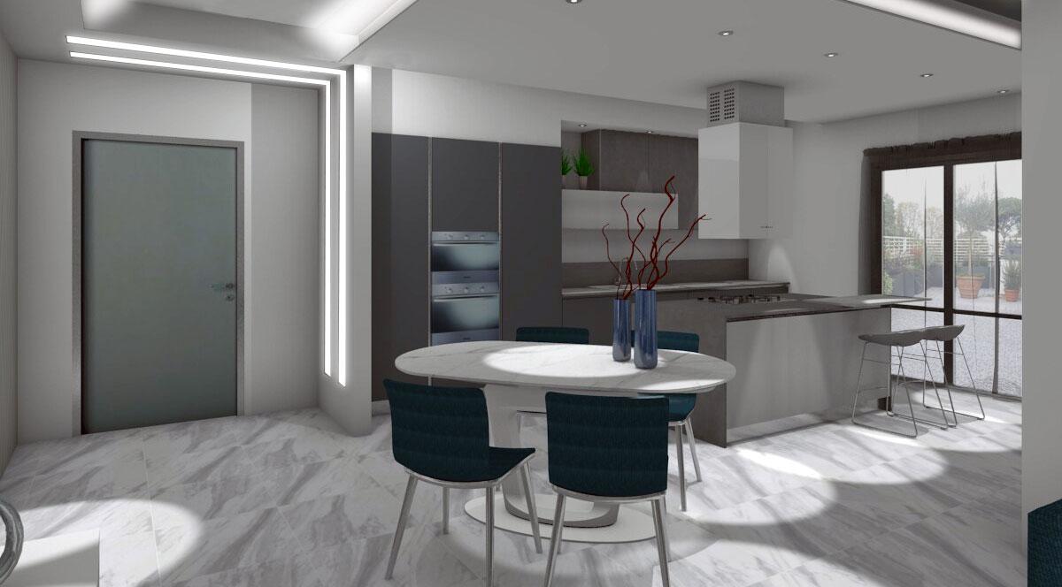 Progettazione zona living con cucina a vista