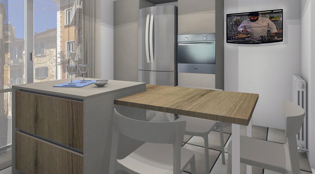 Progetto cucina con particolare attenzione ai materiali impiegati